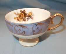 Periwinkle Blue Lusterware Yellow Rose Tea Cup only