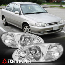 Fits 1998-2001 Kia Sephia [Chrome/Clear] Crystal Corner Headlight Headlamp Lamp