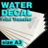 Blank Water Decal Paper Sheets for DIY Projects, Inkjet Printers (size A3)