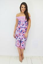 Virgos Lounge Lilac Floral Bardot Maise Embellished Pencil Party Dress 8 36 New