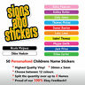 50 Personalised Childrens Name Stickers  Labels Lunch boxes - School tags
