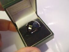SOLID SILVER INCREDIBLE MASSIVE WIDE BAND RING-SIZE O-RARE BLACK FACETED SPINEL