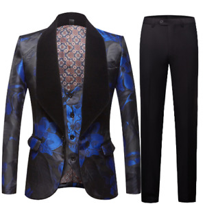 Mens Straight Pants 3PCS Printing Floral Casual Business Suits One Button Blazer