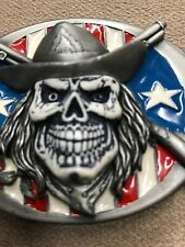 14/23). Cowboy Skull Style Belt Buckle With USA Flag 1992