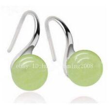 Natural 10MM Light Green /Light Blue Jade Gemstone Round Beads Earrings