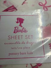 New Pottery Barn Kids Barbie Twin Size Sheet Set Organic Cotton Pink White Girl