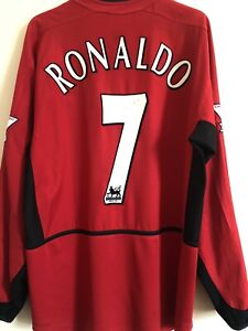 Manchester United Home Shirt 2003/04 Size M RONALDO Long Sleeves