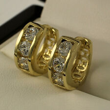 Yellow Gold Filled Clear Swarovski® Element Crystals Huggie Hoop Earrings 397