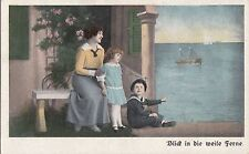 CG80.Vintage German Postcard.Mother and children watching the ship sail by.