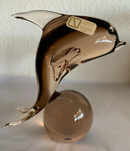 MURANO RARE Vintage Leaping Dolphin Excellent Condition! Amber/Brown