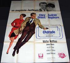 1963 Charade ORIGINAL FRENCH POSTER Audrey Hepburn Cary Grant