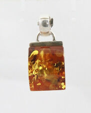 Natural AMBER square shape pendant 16mm(w) x 20mm(l) - 925 sterling silver