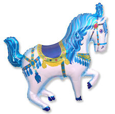"34"" balloon CAROUSEL HORSE circus BLUE party FAVORS new CARNIVAL merry go round"