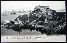 "NEWPORT Rhode Island ~ 1900's  ""BEACON ROCK""  RESIDENCE OF E. D. MORGAN ~ SHIPS"