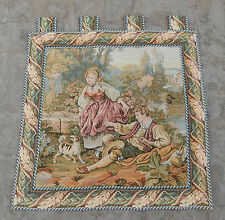 Vintage French Beautiful Romantic Scene Tapestry 61X60cm (A557)