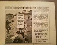 1899 Pope Mfg. Co Columbia chainless bicycle vintage original ad