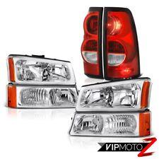 03-06 Chevy Silverado 1500 2500 3500 Red Tail Brake Lamp Crystal Clear Headlight
