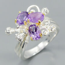 Handmade SET Natural Amethyst 925 Sterling Silver Ring Size 7.75/R102840