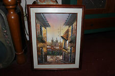 Stunning Oil Painting-European Street City Buildings People-Signed-Framed-LQQK