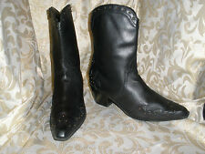 ANA BLACK / BRASS STUDDED  LEATHER WESTERN BIKER COWGIRL BOOTS MID CALF 11 M