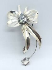 White Gems by Jordan Sterling Silver Bow Pin with