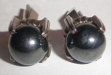 Amazing unique art deco hematite ball claw sterling silver cufflinks