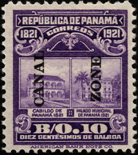 Canal Zone - 1921 - 10 Cents Violet Panama Building Issue Overprinted # 63 Mint