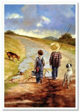 Little BOYS go fishing with dogs JIM DALY KIDS ART Modern Postcard