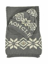 Moncler Grey Wool Fairisle Snowflake Scarf and Bobble Hat New $475