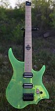 headless Electric Guitar Green Color Acrylic Flame maple Neck
