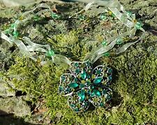 Green rhinestone Flower/Metal/Ribbon Necklace 24cm Chic/ BoHo Style
