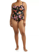 Terra & Sky Women's Plus 5X Tummy Control One Piece Swimsuit Floral Black NEW