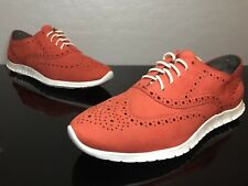 Women's  Cole Haan Wingtip Zerogrand OS  Citrus Red Nubuck/White SIZE 11