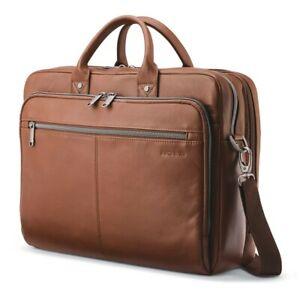 NWT SAMSONITE Leather Top loader Laptop Travel Brief Cognac 126039 FREE SHP