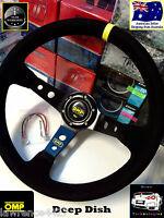 OMP 350mm Deep Dish Suede Sport Steering Wheel *Import Car JDM Drift Race Boat*