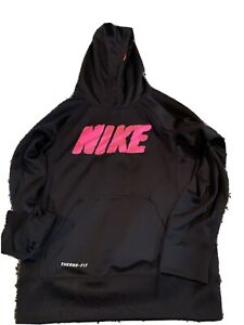 Nike Girls Hoodie Pullover Sweatshirt Small Black Pink Logo