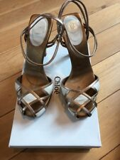 Womens Chloe Gold/Cream Leather Sandals Size 5