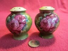 Vintage Hand Painted Urn Roses Salt and Pepper Shakers Ceramic         96