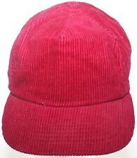 Vintage Corduroy Baseball Hat Crimson Red / Maroon Buckle Strapback Cap
