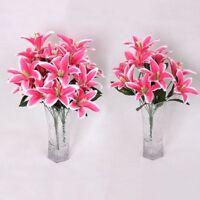 Wedding Floral Silk Flower Artificial 10Heads Lilies Bouquet*Wedding-Home Decor