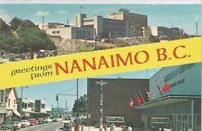 Nanaimo BC Canada  Victoria Crescent-Post Office-Hotel Malaspina Postcard 1950s