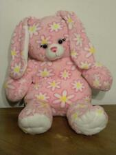 """Build A Bear Pink Bunny with Daisy flowers 2011 15"""" plush toy"""