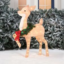 36In Christmas Fawn Deer Sculpture Xmas Holiday Outdoor Decor Yard Decoration