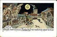Remscheid Germany drunk men policeman face in moon comic ~ c1905 postcard