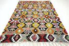 "Anatolia Turkish Kilim, Star Designed Rug, Yellow Color Rug Wool Carpet 76""x106"""