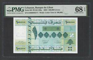 Lebanon 100,000 Lira 22-11-2004 P89  Uncirculated Grade 68 Top Pop