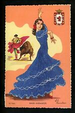 Embroidered clothing postcard Artist Gumier Spain Bailes Andaluces matador 86/6