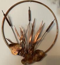 Vtg Copper Brass Metal round Cattail Wall Hanging