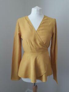 ASOS Wrap Top * Mustard Yellow * Long Sleeves * Smart Chic * Linen Blend * Sz 12