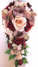 17 piece Wedding Bouquet package Bridal Silk Flowers BURGUNDY BLUSH PEACH MAUVE